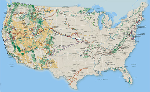 National Trails System Map and Guide - courtesy of National Park Service