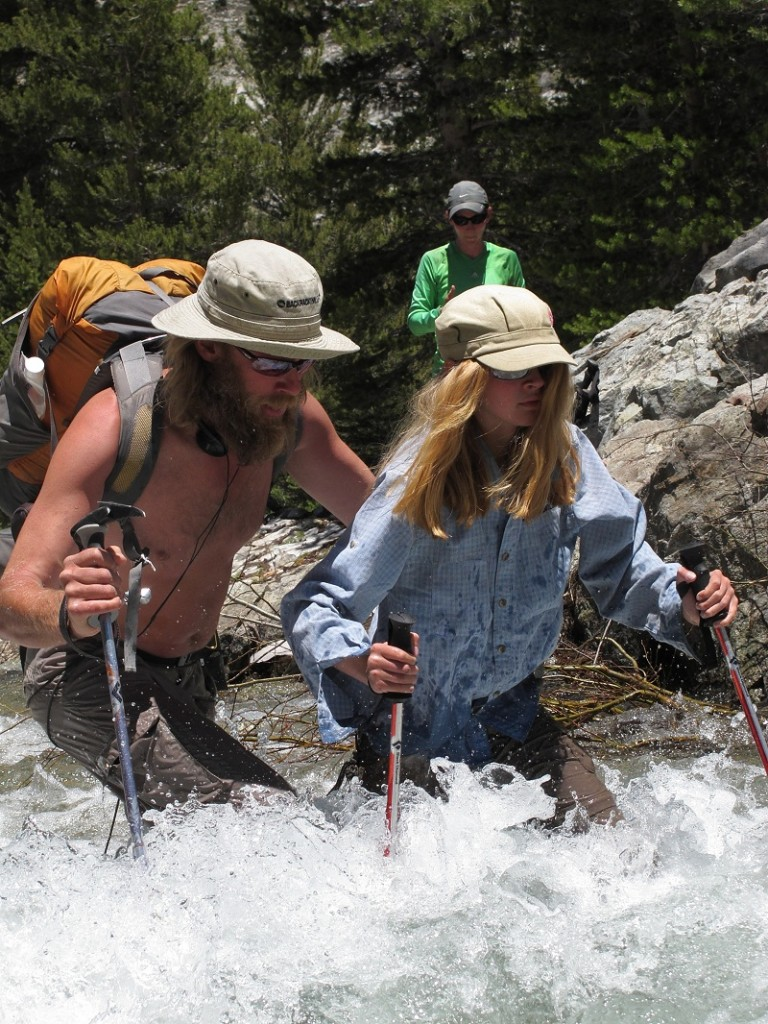 Balls and Sunshine fording a stream in the Sierras.