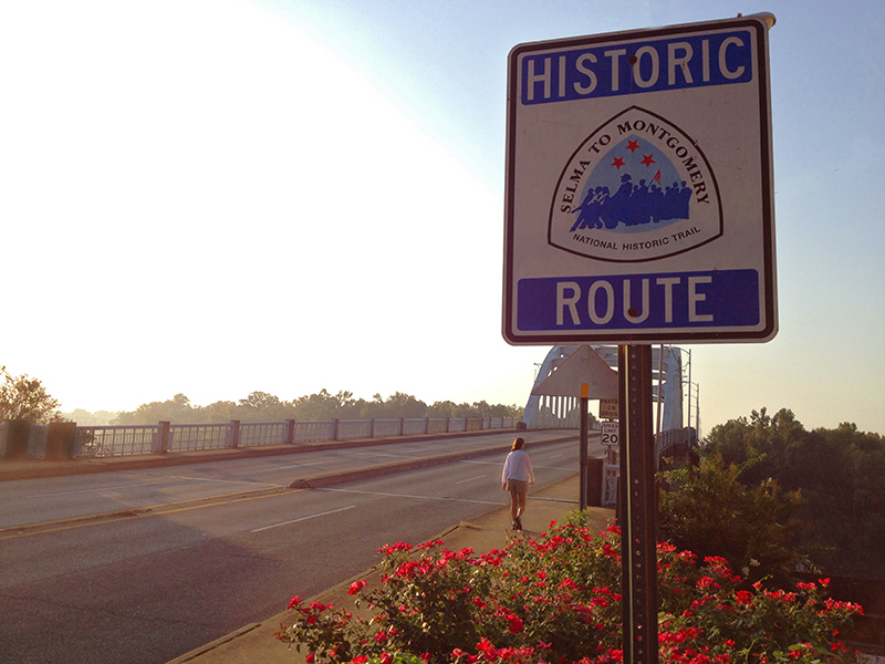 Walking along the modern-day Selma to Montgomery National Historic Trail. (photo by Bill Buck)