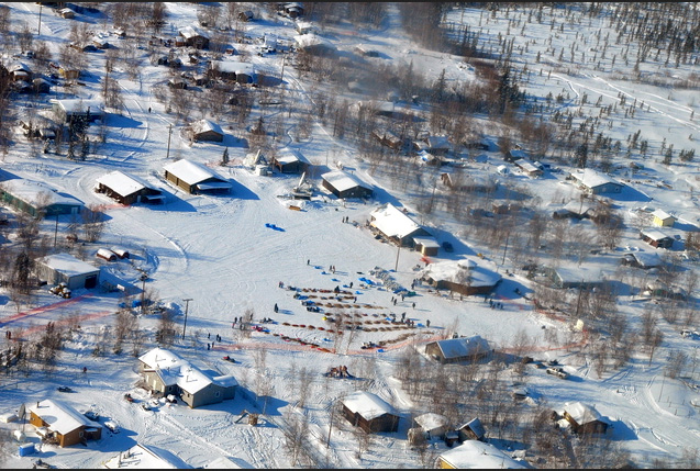 Aerial view of 11 teams resting in the village of Huslia.