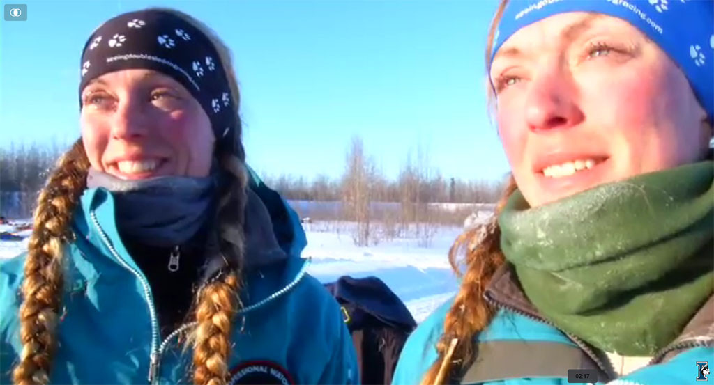 Four-time Iditarod racers Anna and Kristy Berington, twins from AK who grew up in Wisconsin.